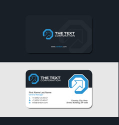 Business cards up arrow and octagon blue color vector