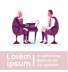 Businessmen sitting workplace business interview vector