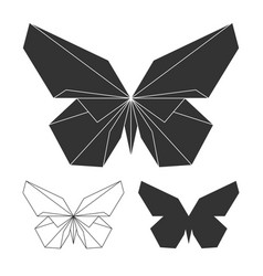 Butterflies logo set line and silhouette vector