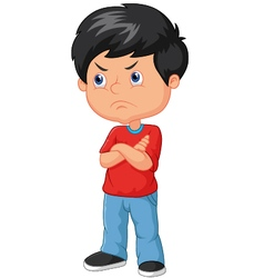 Cartoon angry boy vector image