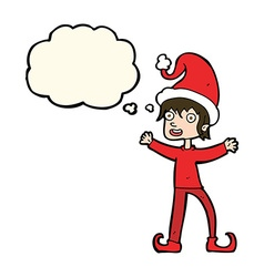 Cartoon excited christmas elf with thought bubble vector