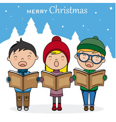 Children with books singing christmas songs vector
