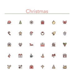 Christmas colored line icons vector