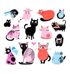 color set of different funny cats vector image