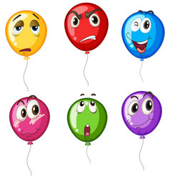 Colorful balloons with different faces vector