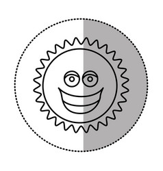 contour sticker happy sun icon vector image