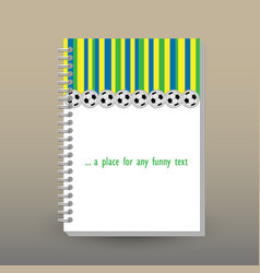 cover of diary blue green yellow striped pattern vector image