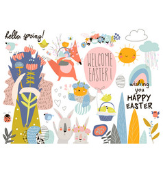 cute cartoon animals with easter theme happy vector image