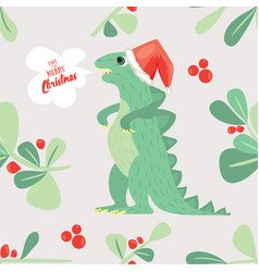 cute dino wish you to have a very merry christmas vector image