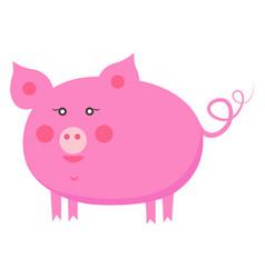 cute piggy cartoon flat sticker or icon vector image