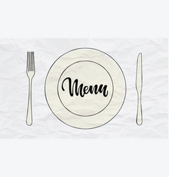 cutlery knife fork plate doodle icons with vector image