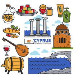 cyprus travel landmarks symbols and tourist vector image vector image