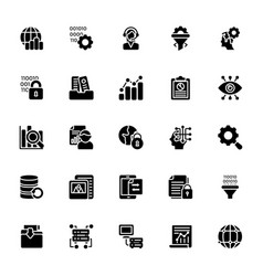 data management glyph icons collection vector image