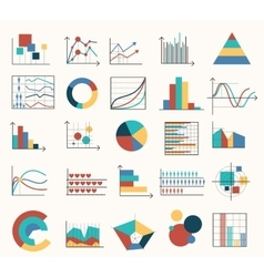 Diagrams flat icons vector