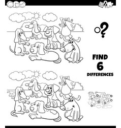 Differences coloring game with dogs animal vector