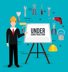 Engineer character with construction equipment vector