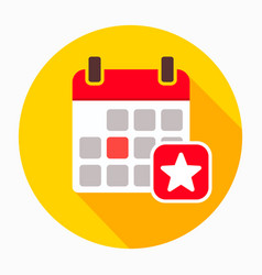 Favorite day calendar with star icon vector
