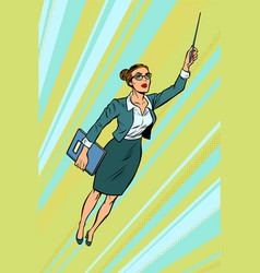 female teacher superhero flying vector image
