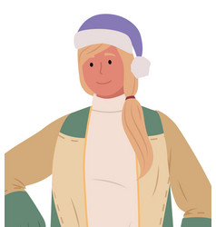 Female wearing santa hat and warm clothes vector