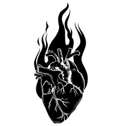 flaming heart silhouette black icon vector image