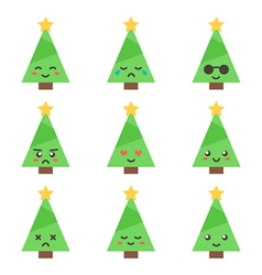 Flat design cartoon cute christmas tree characters vector