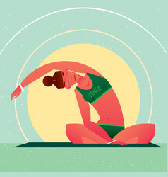 girl sitting in yoga lotus pose and tilts right vector image