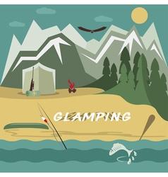 Glamor camping flat design landscape vector