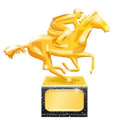 golden trophy horse racing vector image