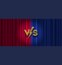 golden versus logo on red and blue curtain vector image