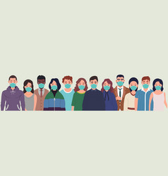 Group people wearing protective medical masks vector