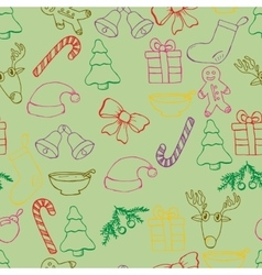 Hand drawn seamless christmas background Color vector