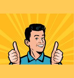 happy businessman keeps his thumbs up retro comic vector image