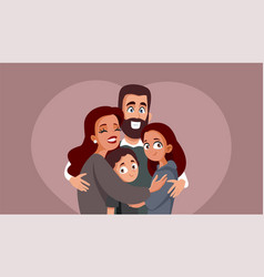 happy family hugging vector image