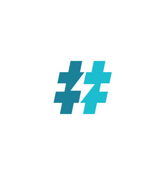 Hashtag symbol lightning logo icon design vector