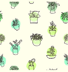 houseplants drawing background sketch of home vector image