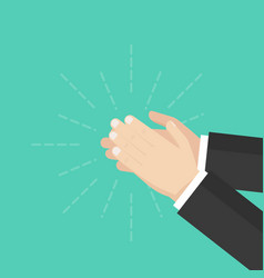 human hands clapping applauding hands flat design vector image