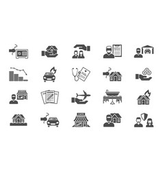 insurance support icons set payment damages from vector image