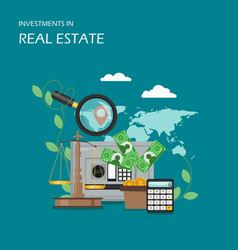 Investments in real estate flat vector