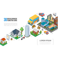 isometric cityscape elements collection vector image