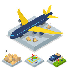 Isometric delivery concept air cargo plane vector