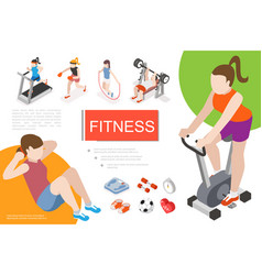 isometric fitness in gym composition vector image