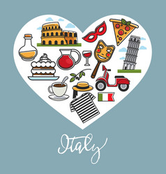 italy promo poster with national symbols in heart vector image