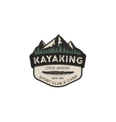 Kayaking vintage badge mountain explorer label vector