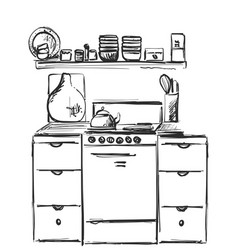 kitchen interior drawing furniture sketch vector image