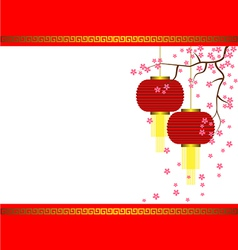 Lamp and Sakura on Chinese New Year Background vector image