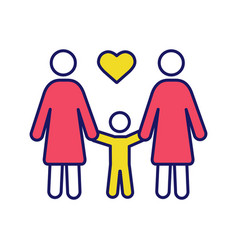 Lesbian family color icon vector