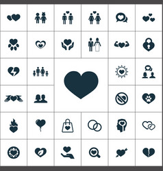 love icons universal set for web and ui vector image