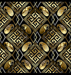 luxury geometric seamless pattern black vector image