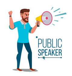 Man shouting through megaphone public vector