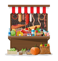 market store interior with goods vector image